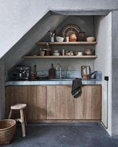 Small rustic kitchen with slanted ceiling
