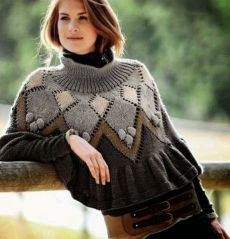 Sweater Knitting Patterns, Knitted Poncho, Knitting Stitches, Knitting Designs, Hand Knitting, Fair Isle Pullover, Knitwear Fashion, Cute Sweaters, Sweater Outfits
