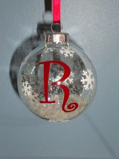 Initial Snowflake Ornament  SALE by littledsigns on Etsy, $3.00