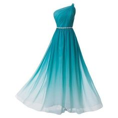 Pd60930 Charming Prom Dress,Chiffon Prom Dress,Gradient Prom... ❤ liked on Polyvore featuring dresses, chiffon cocktail dresses, chiffon dresses, gradient dress, one shoulder chiffon dress and blue dress