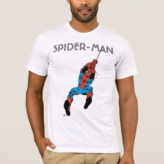 Spider-Man Retro Web Swing T-Shirt. Personalize these Classic Marvel character designs and make perfect gifts for any fans. Web Swing, Man Character, Cartoon T Shirts, Amazing Spiderman, Comic Books Art, American Apparel, Colorful Shirts, Retro, Mens Tops