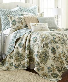 Loving this Gray & Blue Floral & Tile Quilt Set on #zulily! #zulilyfinds