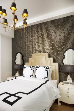 Gold inside lamp shades Lily Z Design - bedrooms - Graham & Brown Illusion Wallpaper, Jonathan Adler Queen Anne Mirror, Jacqui Side Table, art deco bedroom. Art Deco Room, Art Deco Decor, Art Deco Design, Art Deco Bed, Art Deco Fabric, Paper Design, Wall Design, Accent Wall Bedroom, Bedroom Art