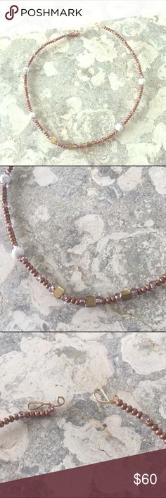 Copper Beaded Choker Copper beads, purple glass beads, marble beads, brass beads on brass wire. Free People Jewelry Necklaces