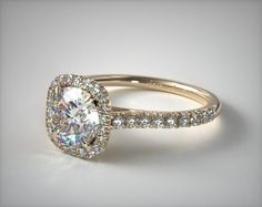 18K Yellow Gold Cushion Outline and Pave Gallery Engagement Ring