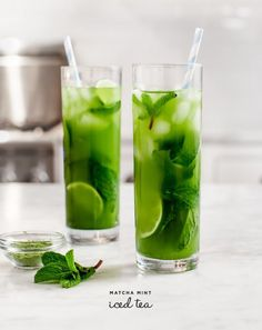 35 EASY Matcha recipes - Looks refreshing, doesn't it? This simple ice tea recipe uses matcha, mint, lime, ice, and water–and some honey if you feel like extra sweetness.