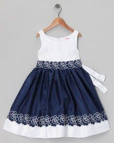 Navy & White Flower Dress - Infant, Toddler & Girls by Sweet Heart Rose Little Girl Outfits, Little Girl Dresses, Kids Outfits, Baby Girl Dresses, Baby Dress, Cute Dresses, Special Dresses, Flower Dresses, White Embroidered Dress