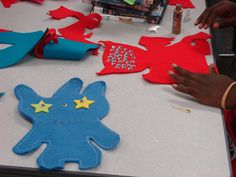 Ugly Dolls made from felt and felt pieces, sewing machine the edges and the teens hand sewed the closing.  Use google eyes and be sure to stuff it!  They had so much fun and we used two machines for 15 teens.