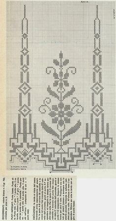 A magical transparency for the filet mesh curtain characterized by sm . Cross Stitch Letters, Cross Stitch Rose, Cross Stitch Borders, Cross Stitch Flowers, Chain Stitch, Cross Stitch Embroidery, Broderie Bargello, Stitch Patterns, Knitting Patterns