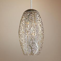 Revel in the sheer opulence of this golden silver pendant light from the Maxim Arabesque collection. Comes with one and three downrod stems, plus of wire. Maximum hang height is Style # at Lamps Plus. Pendant Chandelier, Oval Pendant, Silver Pendants, Chandelier Lighting, Chandeliers, Foyer Lighting, Linear Lighting, Flower Pendant, Crystal Pendant