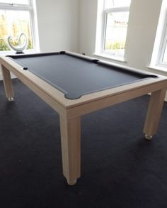American Modern Pool Table In Ash Colour E With Slate Grey Cloth - Modern slate pool table
