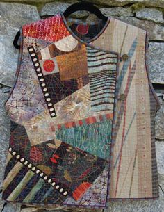 Wearables - Christine Barnes - Crossover Collage Vest Welcome to the world of surface- stitched collage! This asymmetrical vest with button-and-loop closure provides a great Japanese Embroidery, Japanese Fabric, Clothing Patterns, Sewing Patterns, Diy Vetement, Vest Pattern, Jumpsuit Pattern, Fabric Manipulation, Fabric Art