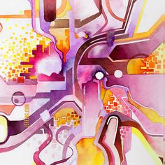 Sunberry - Abstract Southwest Watercolor Painting. Pink, purple, red, orange, and yellow abstract geometric psychedelic watercolor painting.