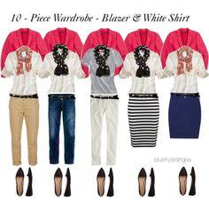 10 - Piece Wardrobe - Blazer & White Shirt #Fashion #Wardrobe #Coordinate