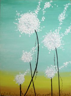 Abstract Dandelion Flower Acrylic Painting on Canvas by UpCycledChicByBecca on Etsy