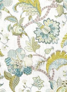 """Finders Keepers Peacock - Floral Jacobean decorator fabric from P. Kaufmann Decorator fabric. Perfect for any upholstery, bedding or window treatment project.  100% Cotton. Repeat; V 27"""" x H 27"""". 54"""" wide"""