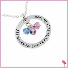 All Because Two People Fell In Love Birthstone Bling Chicks Necklace