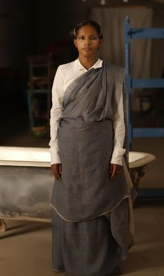 sita in indigo linen sari !!