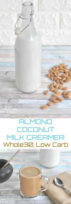 Low Carb Almond Coconut Milk Creamer Finding A Good Compliant Almond Milk Or Coconut Milk Can Be Tricky. Look at This Easy Peasy Low Carb Almond Coconut Milk Creamer Recipe. Coconut Milk Creamer Recipe, Almond Milk Creamer, Milk Recipes, Low Carb Recipes, Real Food Recipes, Whole30 Recipes, Paleo Sauces, Coffee Recipes, Easy Recipes