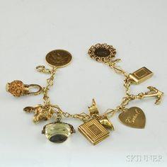 10kt Gold Charm Bracelet