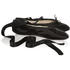 Ballet Beautiful Satin ballet slippers ($190) ❤ liked on Polyvore featuring shoes, flats, dance, ballet, ballet shoes, ballerina shoes, ankle strap shoes, flat shoes and black ballet flats