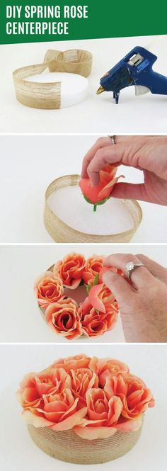 This DIY spring rose centerpiece is a beautifully girly way to add a little bit of spring color to your home. Secure fake flowers in a thick styrofoam disc. Then, cover the styrofoam with a rustic canvas ribbon or hide it in a pretty flowerpot. This easy tabletop centerpiece is the perfect decoration for a festive spring brunch. If you're hosting friends for a small get-together, be sure to wear your Depend® Silhouette® Briefs for discreet bladder protection that's always in season.