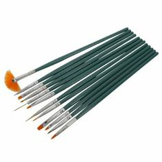 12pcs Professional Nail Art Design Painting Drawing Pen Brush Brushes Tool Set Kit Green Handle by Crazy Cart. $5.95. Features: 1. It is made of high quality material, durable enough for your daily using 2. Including dotting tool, angle brush, fan brush, etc 3. Total 12 pcs for professional nail tech 4. Enable you to create beautiful nail designs in seconds 5. Special designed for finest detailing tasks like painting leaves and flower petals 6. Great for blendi...
