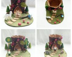 Purple Trumpet Flower Fairy House Tree Stump by MyBigWorld2015