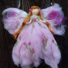 Ethereal Pink Garden Fairy-  Needle felted wool fairy angel Waldorf inspired creation by Rebecca Varon aka Nushkie