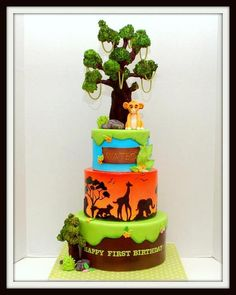 Lion King Cake Middle tier was airbrushed with yellow first, then orange with a little bit of yellow, then orange with a little bit of red. Pretty Cakes, Cute Cakes, Beautiful Cakes, Amazing Cakes, Lion King Party, Lion King Birthday, Crazy Cakes, Fancy Cakes, Lion King Cakes