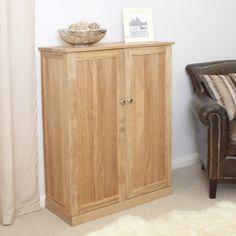 contempo oak shoe cupboard large