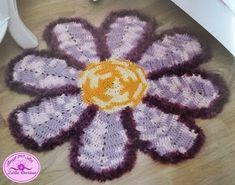 Tapete infantil de crochê em formato de flor margarida com gráfico