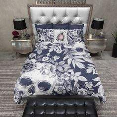 Bedding - The bed is Twin of them). I buy full/Queen Covers - Cream on Blackprint Skull Duvet Bedding Sets Cream Bedding, Purple Bedding, Black Bedding, Linen Bedding, Bed Linens, Girl Bedding, Queen Bedding Sets, Luxury Bedding Sets, Comforter Sets