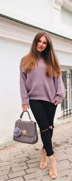 Brown Crew Neck Hollow Knit Sweater