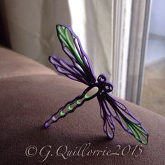 Quilling Dragonfly - purple, green