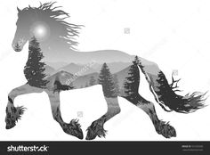 Silhouette Of A Running Horse. Inside The Mountain Landscape With ...