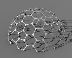 SketchUp rendering of a Goldberg polyhedron dome.  2 unique strut lengths - 3 hub shapes.  Modeled in SolidWorks by Robert Clark.