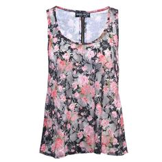 Black Floral Print Lace Vest Top ($8.62) ❤ liked on Polyvore featuring tops, shirts, tank tops, blusas, flower print shirt, floral pattern shirt, floral tank top, lacy tank tops and lace top