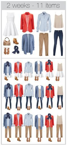 11 items, 2 weeks of clothing. travel light. I'd replace the jeans with black pants, and the dress would be black with tights for winter travel.