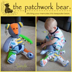 The patchwork bear website - perfect for the girls baby clothes! Onsie Bear, Onesie Quilt, Baby Kids Clothes, Baby Crafts, Baby Sewing, Baby Quilts, Diy For Kids, Baby Love, Sewing Projects