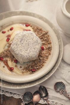 Poppy seed parfait with vanilla-pomegrante custard, poppy seed streusel crumble