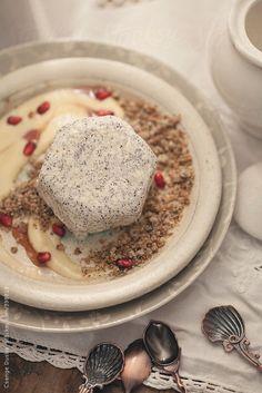Poppy seed parfait with vanilla-pomegrante custard, poppy seed streusel crumble