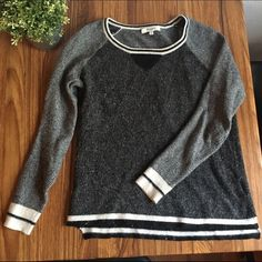 Madewell baseball raglan style striped sweater Baseball style dark grey and light grey crew neck sweater from Madewell! No holes or stains. It's pretty fuzzy all over but I bought it like that, it's just the material. Madewell Sweaters Crew & Scoop Necks