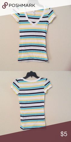 Striped Tee Good condition:) 95% Cotton & 5% Spandex Ambiance Apparel Tops Tees - Short Sleeve