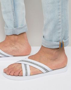 Versace Jeans Logo Crossover Flip Flop - White