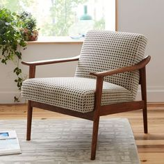 Living room chairs - MidCentury Show Wood Chair, Twisted Slub, Feather Gray, Pecan at West Elm Chairs Seating Home Furni Living Room Chairs, Living Room Furniture, Home Furniture, Modern Furniture, Furniture Design, Furniture Ideas, Dining Chairs, Antique Furniture, Lounge Chairs