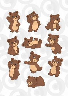 Clipartopolis.com - Heaven di Digitizer Monkey Tattoos, Bear Tattoos, Bee Drawing, Drawing For Kids, Game Character Design, Character Drawing, Teddy Bear Pictures, Bear Theme, Bear Birthday