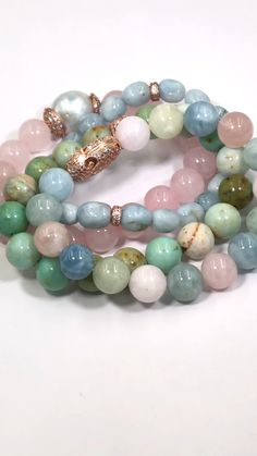 bracelets videos beaded bracelets stack set of 4 pastel gemstone aquamarine and more in Rose Gold Beautiful bracelet stack featuring pastel gemstones and rose gold pave cz beads, click the link to see Gold Bangle Bracelet, Bracelet Set, Beaded Bracelets, Aquamarine Bracelet, Stacking Bracelets, Stretch Bracelets, Diamond Necklaces, Gold Earrings, Accessoires Hippie