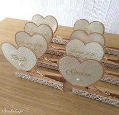 Wooden Clips as an Inspiration - DIY Wedding Place CardsYou can find Place card holders and more on our website.Wooden Clips as an Inspiration - DIY Wedding Place Cards Diy Wedding Programs, Wedding Name Cards, Wedding Table, Rustic Wedding, Wedding Ideas, Wedding Inspiration, Name Card Holder, Place Card Holders Diy, Wedding Place Card Holders
