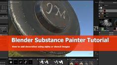 Use alpha and stencil for Blender hardsurface models with Substance Painter - BlenderNation Blender 3d, How To Use Blender, Blender Tutorial, Graphic Design, 3d Design, Unity, Stencils, Writing, 3d Software